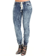 Women - Smocked Waist and Ankle Denim Jogger