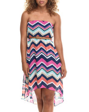 Fashion Lab - Charlie Chevron High Low Dress w/belt