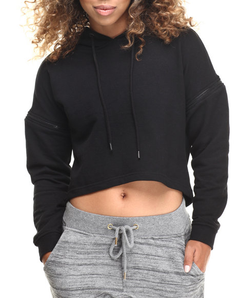 Soho Babe - Women Black French Terry Cropped Zip Trim Hoodie