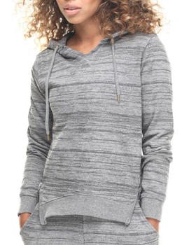 SOHO BABE - French Terry High-Low Hem Zip Trim Hoodie
