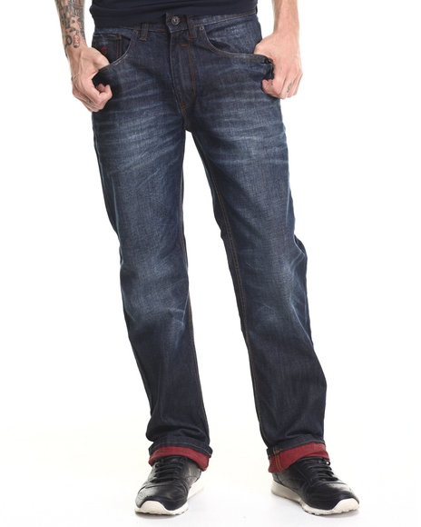 Rocawear - Men Dark Wash,Red Lifetime Classic Fit Jeans