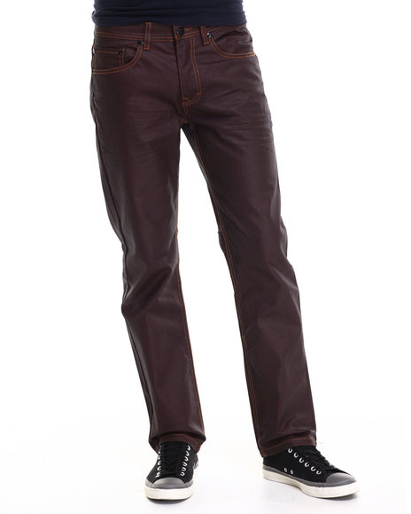 Akademiks - Men Maroon Robertson Heavy Coated Premium Denim Jeans