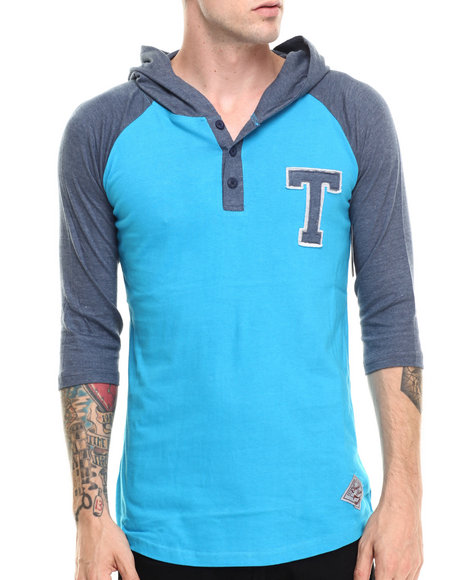 Buyers Picks - Men Blue Letterman Hooded Raglan