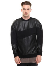 Sweatshirts - Leatherette Panel Sweatshirt