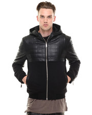 -FEATURES- - Leatherette Quilted Hoodie