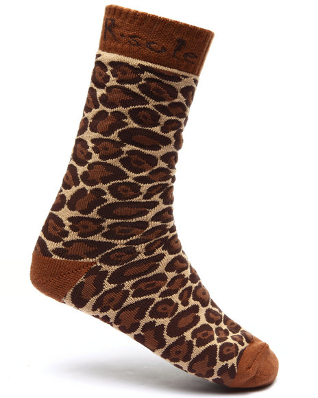 Buyers Picks Men Leopard Print Socks Brown - $4.99