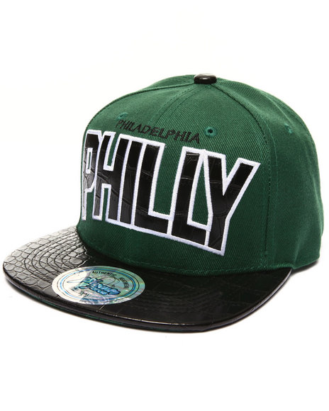 Buyers Picks Men Philadelphia Hometown Croc Embossed Visor Snapback Green - $9.99