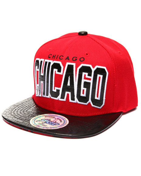 Buyers Picks Men Chicago Hometown Croc Embossed Visor Snapback Hat Red - $14.99