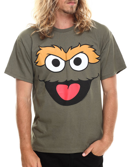 Graf-X Gallery - Men Olive Oscar The Grouch Face S/S Tee - $14.99