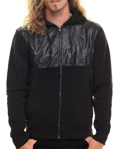Enyce - Men Black Eagor Faux Leather Upper Full Zip Hoody