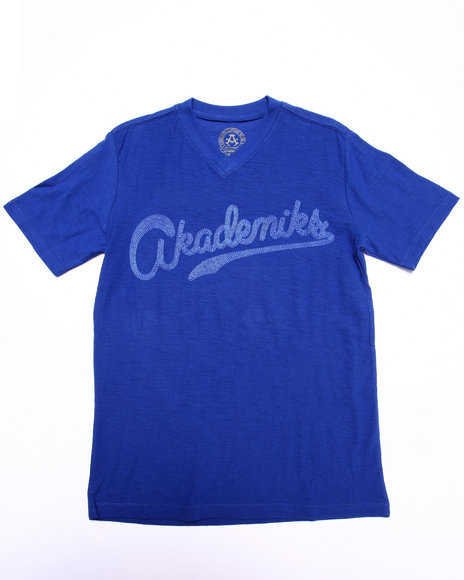 Akademiks - Boys Blue Slub V-Neck Tee (8-20)