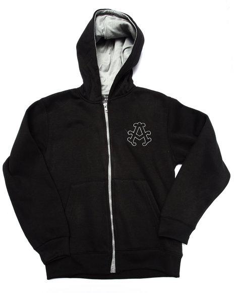 Akademiks - Boys Black Fleece Full Zip Hoody (8-20)