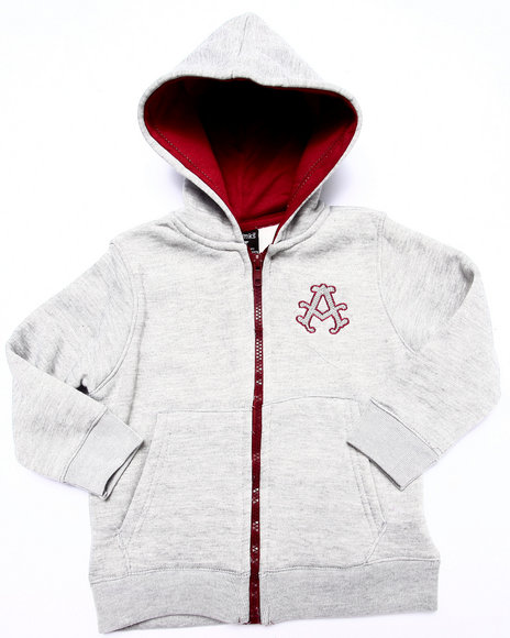 Akademiks - Boys Light Grey Fleece Full Zip Hoody (2T-4T)