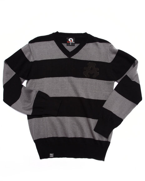Akademiks - Boys Black Y/D Stripe Sweater (8-20) - $26.99