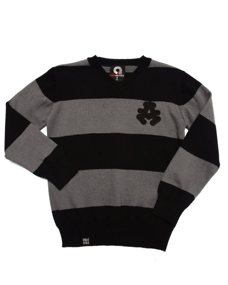 Akademiks - Boys Black Y/D Stripe Sweater (4-7) - $19.99