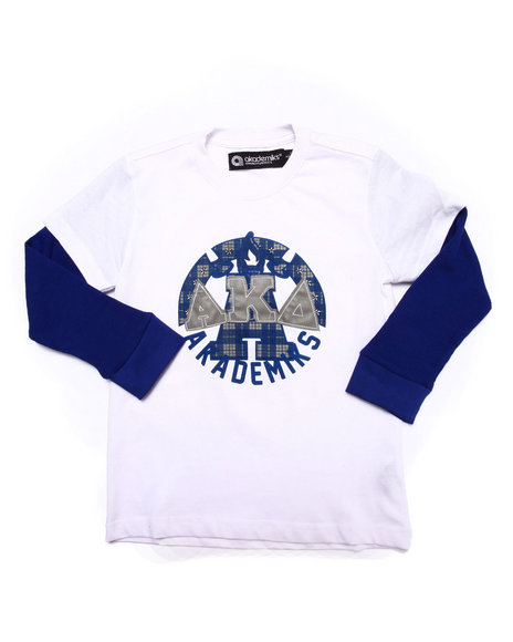 Akademiks - Boys White L/S Tartan Plaid Slider (4-7) - $21.99