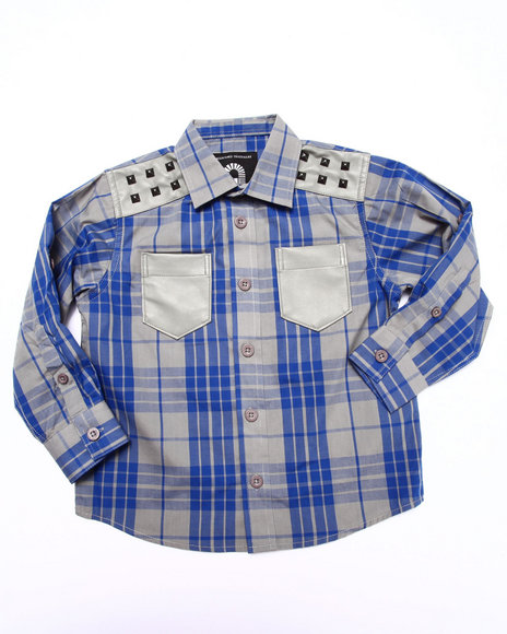 Akademiks - Boys Blue L/S Tartan Plaid Shirt (4-7)