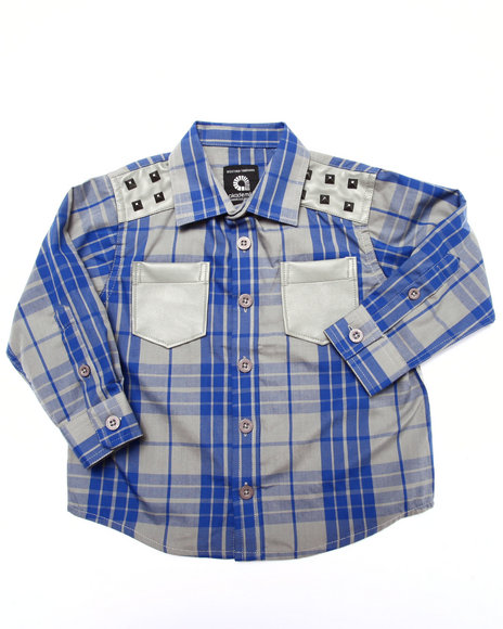 Akademiks - Boys Blue L/S Tartan Plaid Shirt (2T-4T)