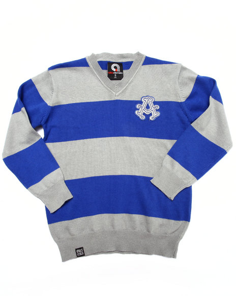 Akademiks - Boys Blue Y/D Stripe Sweater (4-7)