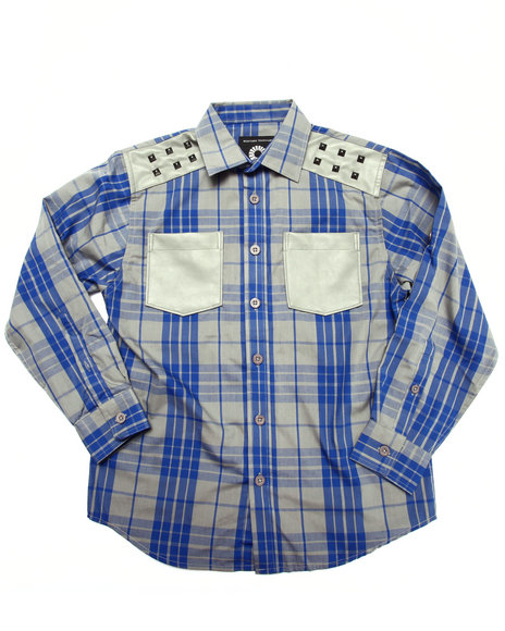 Akademiks - Boys Blue L/S Tartan Plaid Shirt (8-20)