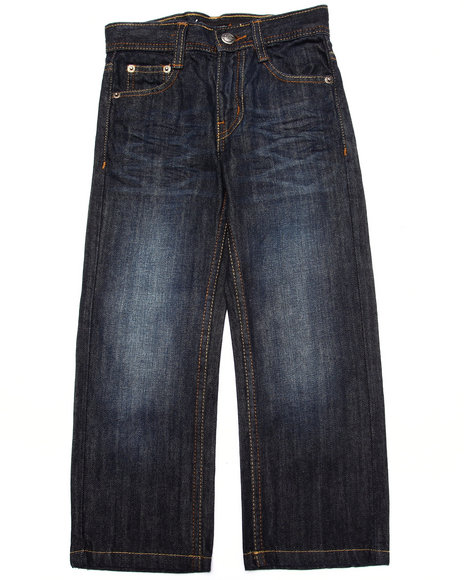 Akademiks - Boys Dark Wash Flap Pocket Jeans  (4-7)