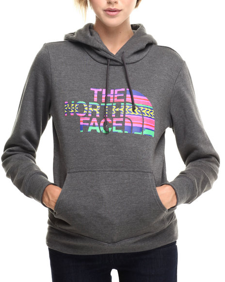 The North Face - Women Grey Texture Stripe Pullover Hoodie