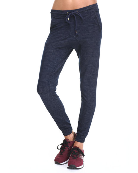 Soho Babe - Women Indigo Knit Raw-Denim Stretch Jogger