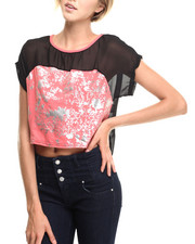 Women - Cropped Hi-Lo Colorblock Top