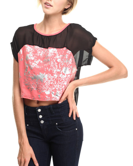 Apple Bottoms - Women Coral,Black Cropped Hi-Lo Colorblock Top - $6.99