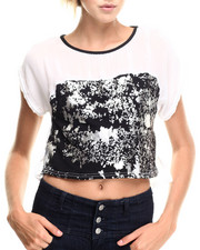 Fashion Tops - Cropped Hi-Lo Colorblock Top