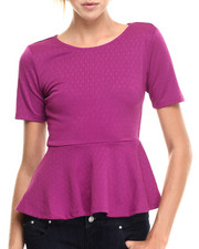Short-Sleeve - Textured Knit Open Back Peplum Top