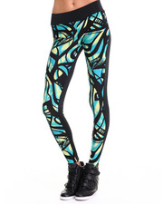 Apple Bottoms - Allover Front Print Leggings w/ Ankle Zippers