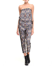 Jumpsuits - Strapless Printed Jumpsuit