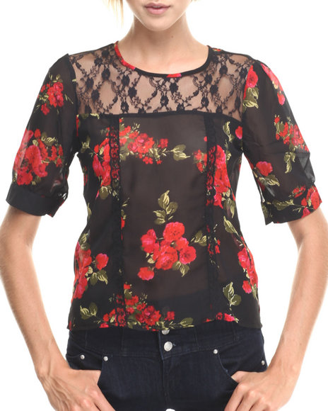 Ur-ID 185290 ALI & KRIS - Women Black Floral Lace Trim 3/4 Sleeve Top