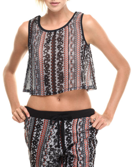 Ur-ID 185297 Apple Bottoms - Women Multi Aztec Cropped Tank