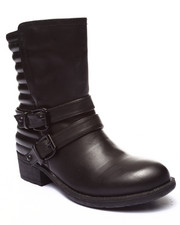 Footwear - Clutch Double Buckle Quilted Back Boot