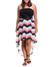 Dresses - Chevron Hi-Low Tube Dress w/belt (plus)