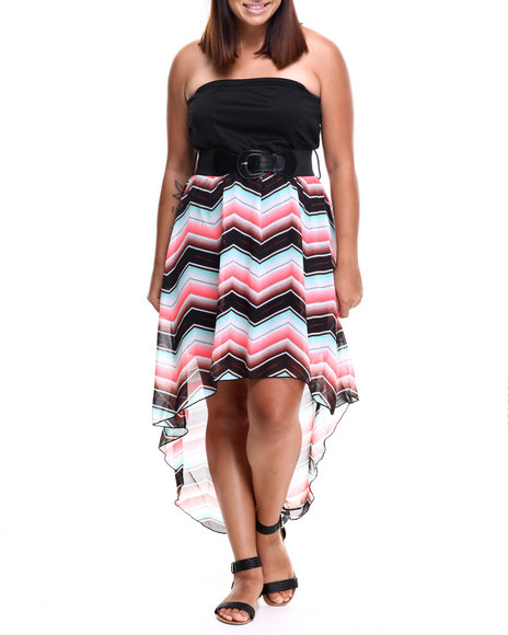 Fashion Lab - Women Black Chevron Hi-Low Tube Dress W/Belt (Plus)