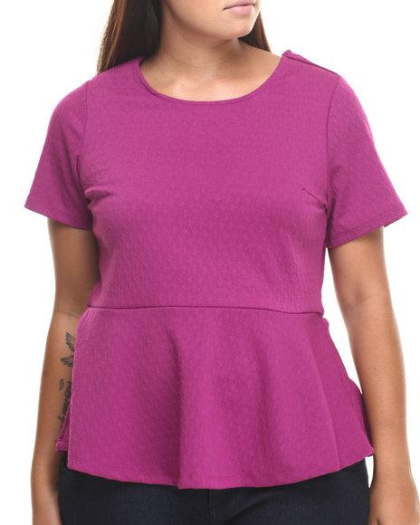Ali & Kris - Women Purple Textured Knit Open Back Peplum Top (Plus)