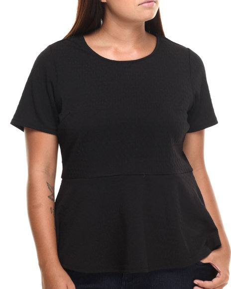 Ali & Kris - Women Black Textured Knit Open Back Peplum Top (Plus)