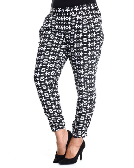 Ali & Kris - Women Black,White Aztec Ruched Ankle Soft Pant (Plus) - $23.99