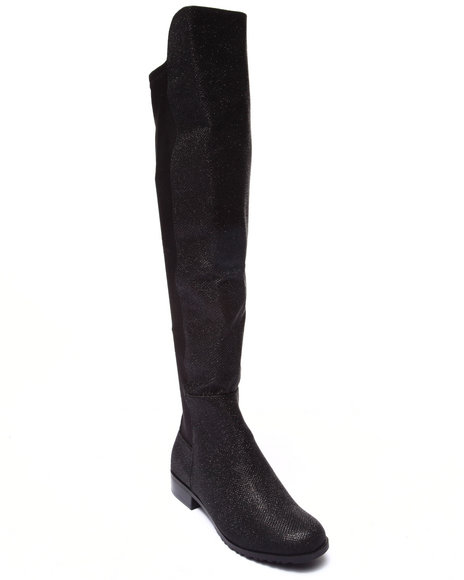 Fashion Lab - Women Black Luxe Sparkle Stretch Back Over-The-Knee Boot