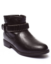 Fashion Lab - Cliff Metal Hardware Buckle Ankle Boot