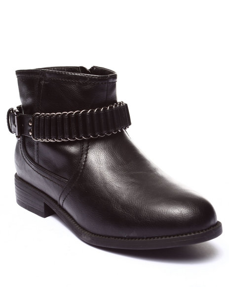 Fashion Lab - Women Black Cliff Metal Hardware Buckle Ankle Boot - $24.99