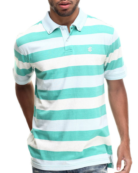 Rocawear - Men Turquoise Heather Block Stripe Polo