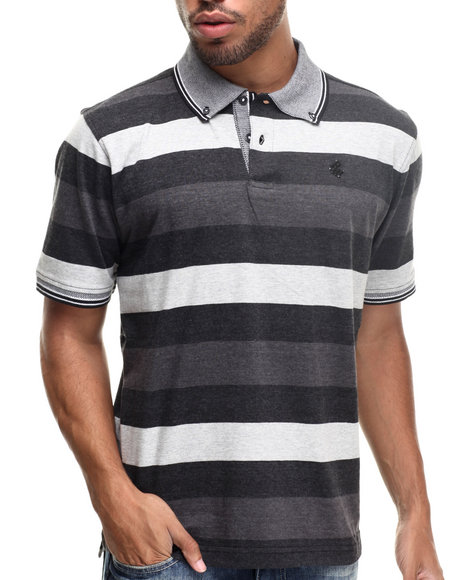 Rocawear - Men Black Heather Block Stripe Polo