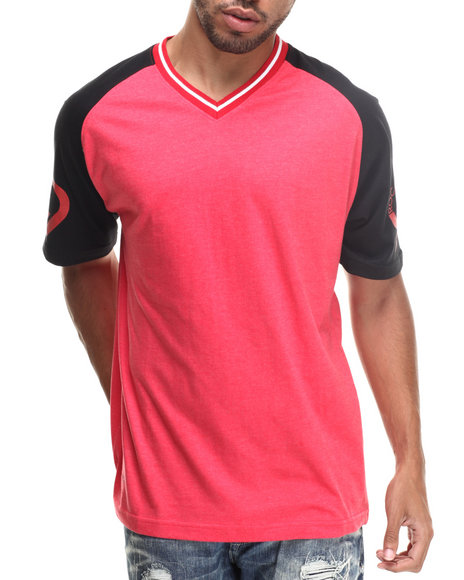 Rocawear - Men Red Clinton Hill V-Neck Jersey Tee