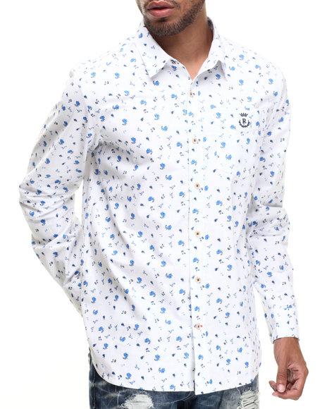 Rocawear - Men White Floral Blue L/S Button-Down - $49.99