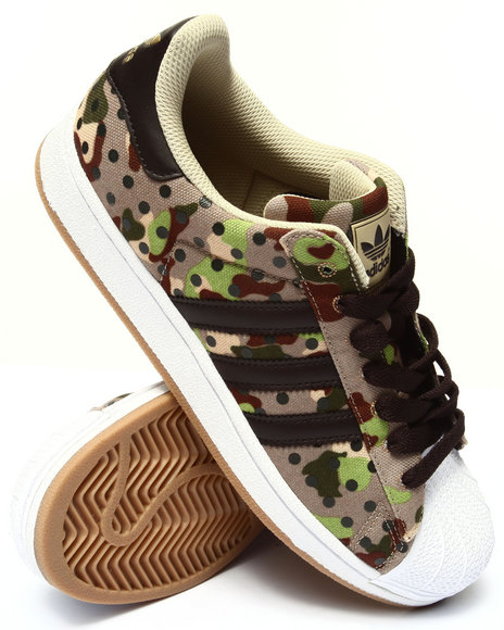 Adidas - Men Camo,Khaki Superstar 2 Camo Sneakers