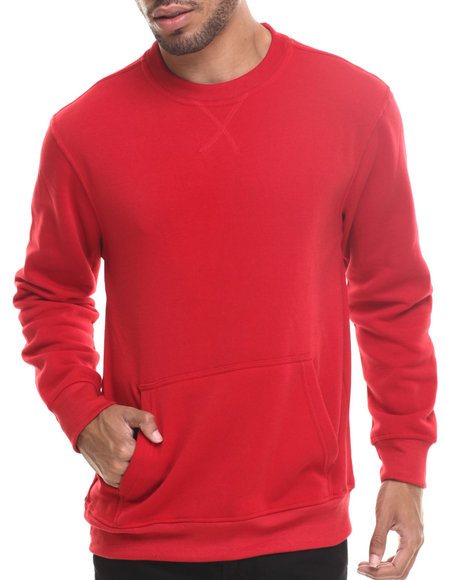 Buyers Picks - Men Red Lt. Fleece Kangaroo Pocket Sweatshirt